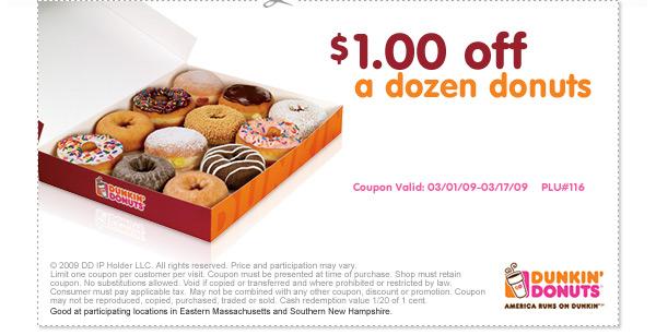 Dining Deals: Dunkin\' Donuts: $1 off a dozen donuts