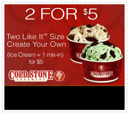 image relating to Cold Stone Printable Coupons named Eating Promotions: Chilly Stone Creamery: 2 for $5