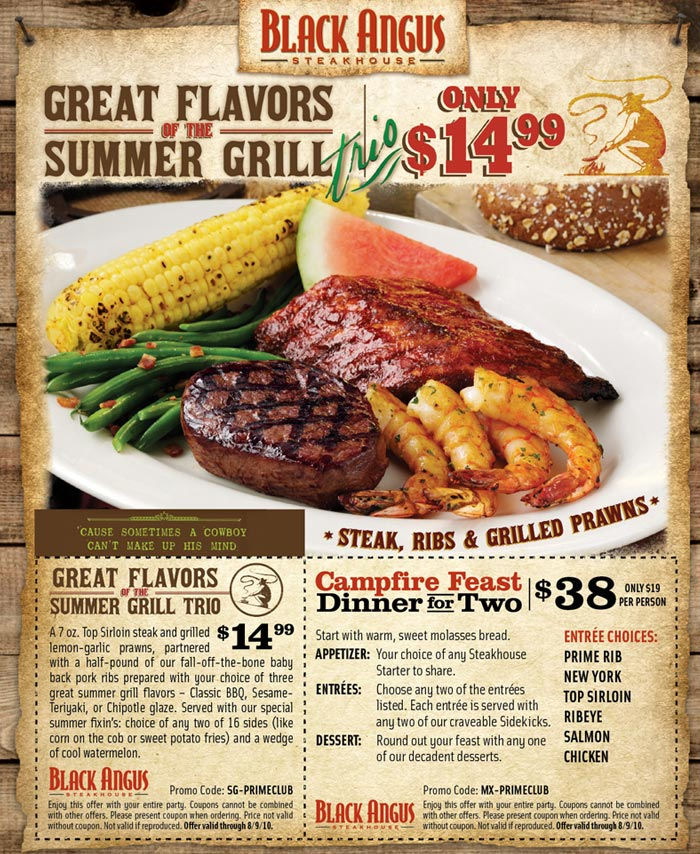 Black Angus Steakhouse: Campfire Feast for $38. via www.blackangus.com